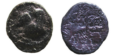 Argilos (hemiobol, 470-460 B.C.); Obv. : Fore-part of Pegasos to left. Border of dots; Rev.: Quadratum Incusum