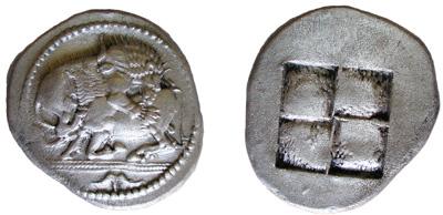 Akanthos (tétradrachme, 500-478 av. J.-C.) Avers.: lion attaquant le flanc d'un bufle Revers.: Quadratum Incusum